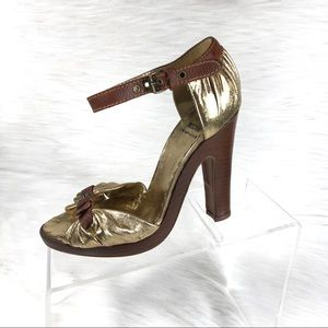 Moschino Cheap & Chic Heel Sandals Gold Size 37